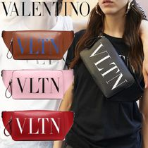 VALENTINO Casual Style Unisex Calfskin Studded Shoulder Bags
