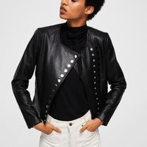 MANGO Short Leather MA-1 Bomber Jackets