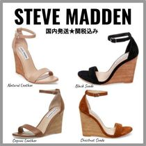 Steve Madden Open Toe Casual Style Plain Leather Platform & Wedge Sandals