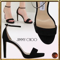Jimmy Choo Open Toe Suede Plain Pin Heels Party Style Heeled Sandals