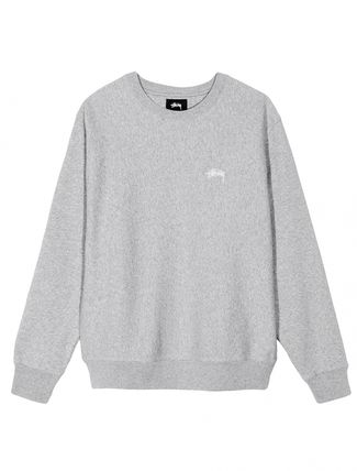 STUSSY Sweatshirts Crew Neck Pullovers Unisex Long Sleeves Plain Cotton 4