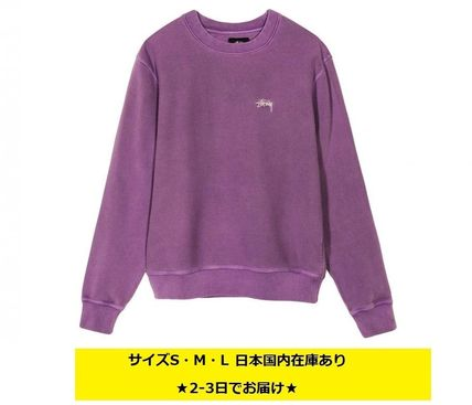 STUSSY Sweatshirts Crew Neck Pullovers Unisex Long Sleeves Plain Cotton 20