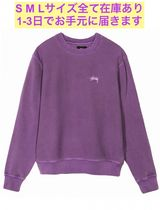 STUSSY Crew Neck Pullovers Unisex Long Sleeves Plain Cotton