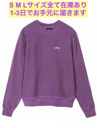 STUSSY Sweatshirts Crew Neck Pullovers Unisex Long Sleeves Plain Cotton