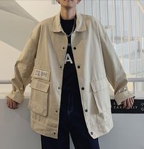 Short Street Style Plain Coach Jackets Oversized
