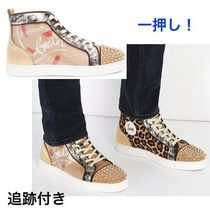 Christian Louboutin LOUIS Leopard Patterns Blended Fabrics Studded Leather Handmade