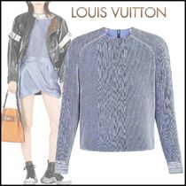 Louis Vuitton Crew Neck Plain Medium Elegant Style Puff Sleeves Tops
