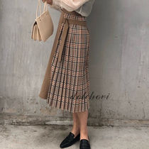 Glen Patterns Casual Style Pleated Skirts Long Midi