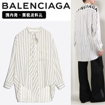 BALENCIAGA Stripes Silk Long Sleeves Long Elegant Style
