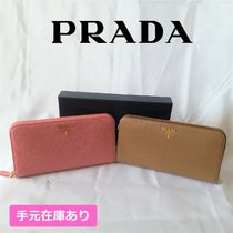 PRADA Plain Leather Long Wallets