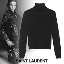 Saint Laurent Short Wool Rib Long Sleeves Plain Turtlenecks