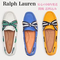 Ralph Lauren Stripes Round Toe Rubber Sole Plain Leather Elegant Style