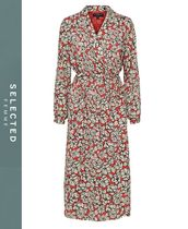 SELECTED Wrap Dresses Flower Patterns Casual Style Dresses
