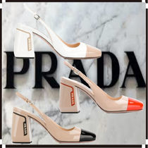 PRADA Leather Block Heels Elegant Style Heeled Sandals