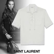 Saint Laurent Lace-up Plain Cotton Short Sleeves Shirts & Blouses