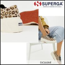SUPERGA Leopard Patterns Platform Lace-up Casual Style