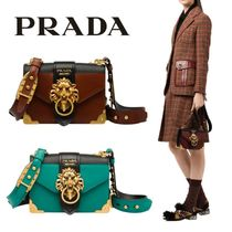 PRADA CAHIER Plain Other Animal Patterns Leather Party Style