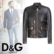 Dolce & Gabbana Short Plain Leather Biker Jackets