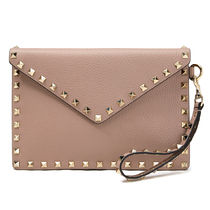 VALENTINO Plain Leather Elegant Style Clutches