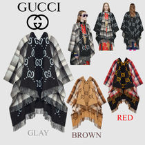 GUCCI Tartan Unisex Wool Medium Fringes Ponchos & Capes