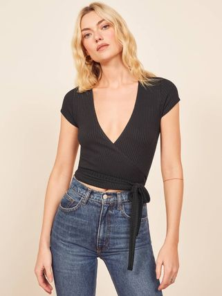 Short Casual Style Rib V-Neck Plain Short Sleeves Cropped