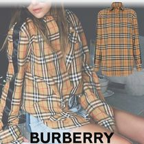 Burberry Stripes Other Check Patterns Casual Style Long Sleeves