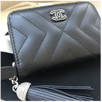 CHANEL ICON Unisex Calfskin Tassel Plain Coin Purses