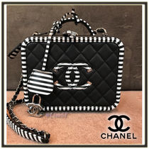CHANEL MATELASSE Stripes Calfskin Vanity Bags 2WAY Chain Plain Elegant Style