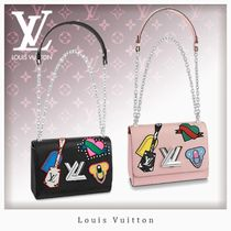 Louis Vuitton TWIST Heart Casual Style Studded 3WAY Chain Leather Shoulder Bags