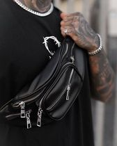 Other UK Blended Fabrics Street Style Chain Plain Leather Hip Packs