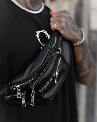 Blended Fabrics Street Style Chain Plain Leather Hip Packs