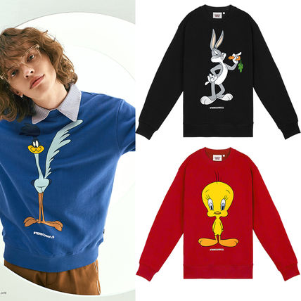 Street Style Collaboration Long Sleeves Cotton Sweatshirts