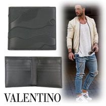 VALENTINO Camouflage Unisex Street Style Leather Folding Wallets