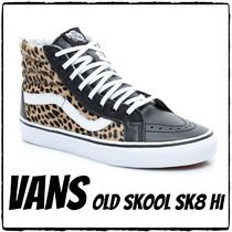 VANS SK8-HI Leopard Patterns Casual Style Blended Fabrics Street Style