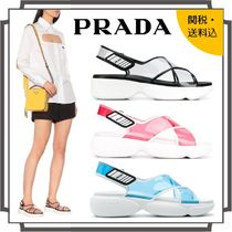 PRADA Open Toe Platform Casual Style Blended Fabrics Street Style