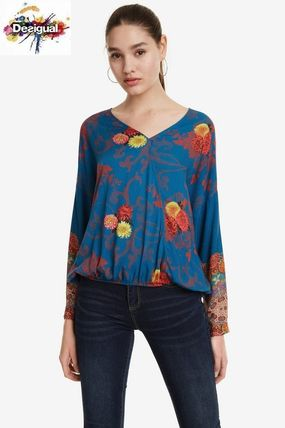 Flower Patterns Casual Style Dolman Sleeves Medium