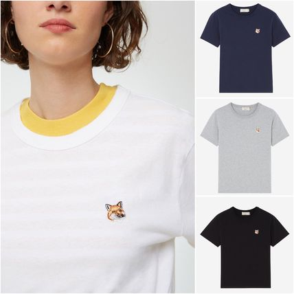 Crew Neck Plain Other Animal Patterns Cotton Short Sleeves
