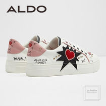 ALDO Heart Round Toe Lace-up Casual Style Faux Fur Studded