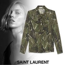 Saint Laurent Camouflage Wool Long Sleeves Shirts & Blouses