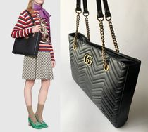 GUCCI GG Marmont A4 Plain Leather Office Style Totes