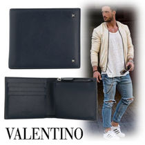 VALENTINO Studded Street Style Plain Leather Folding Wallets