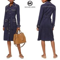 Michael Kors Suede Studded Plain Trench Coats