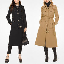 Michael Kors Casual Style Wool Plain Long Trench Coats
