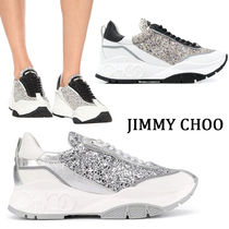 Jimmy Choo Round Toe Rubber Sole Lace-up Casual Style Plain