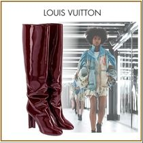 Louis Vuitton Plain Toe Blended Fabrics Plain Leather Block Heels