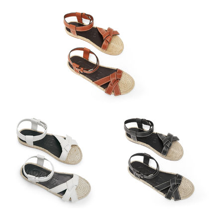 Open Toe Casual Style Blended Fabrics Leather Sandals