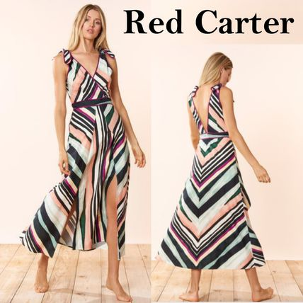 Tropical Patterns Casual Style Maxi Sleeveless V-Neck