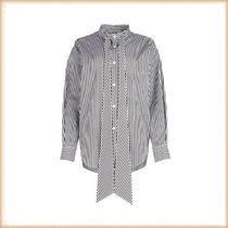BALENCIAGA Stripes Long Sleeves Cotton Shirts & Blouses