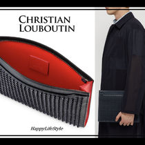 Christian Louboutin Calfskin Studded 2WAY Plain Clutches