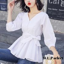 Casual Style Plain Medium Shirts & Blouses